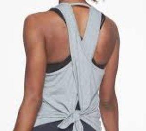 Athleta tie Back tank Top Heathered Gray open back